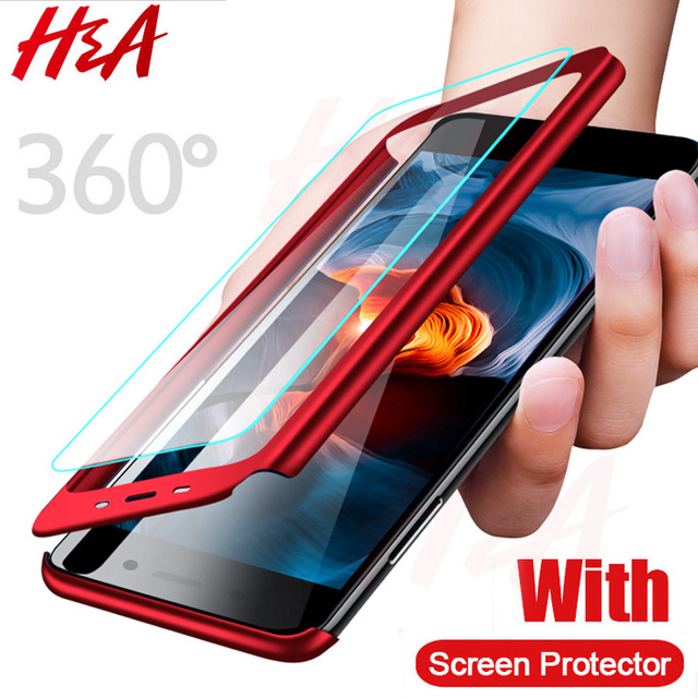 H&A 360 Full Protective Phone Case For Xiaomi Redmi 6 6A S2 Anti-knock Full Cover For Xiaomi Redmi S2 6 6A Cases With Glass Film