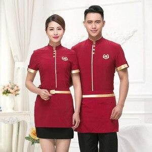 Image 3 - Hotel Uniform Summer Waitress Overalls Short Sleeved Overalls Fast food Waiter Uniforms Restaurant Western Restaurant.