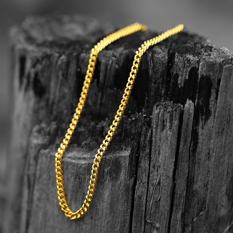 ER 5mm Copper Cuban Curb Link Chains Ncklace Heavy Gold Filled Necklace Men Hiphop Jewelry Neckless Colar Masculina Ouro RN002