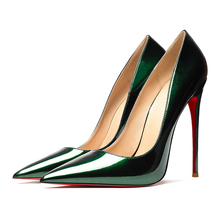 98a5510a93 Spring Summer Women's Sexy Pumps 12cm High Heeled Bright Genuine Leather  Shoes Wedding Red Bottom Heels