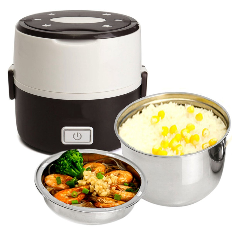 Stainless Steel Liner Rice Cooker Electric Heating Food Box Mini Electric Steamer Food Container Thermal Picnic Bento
