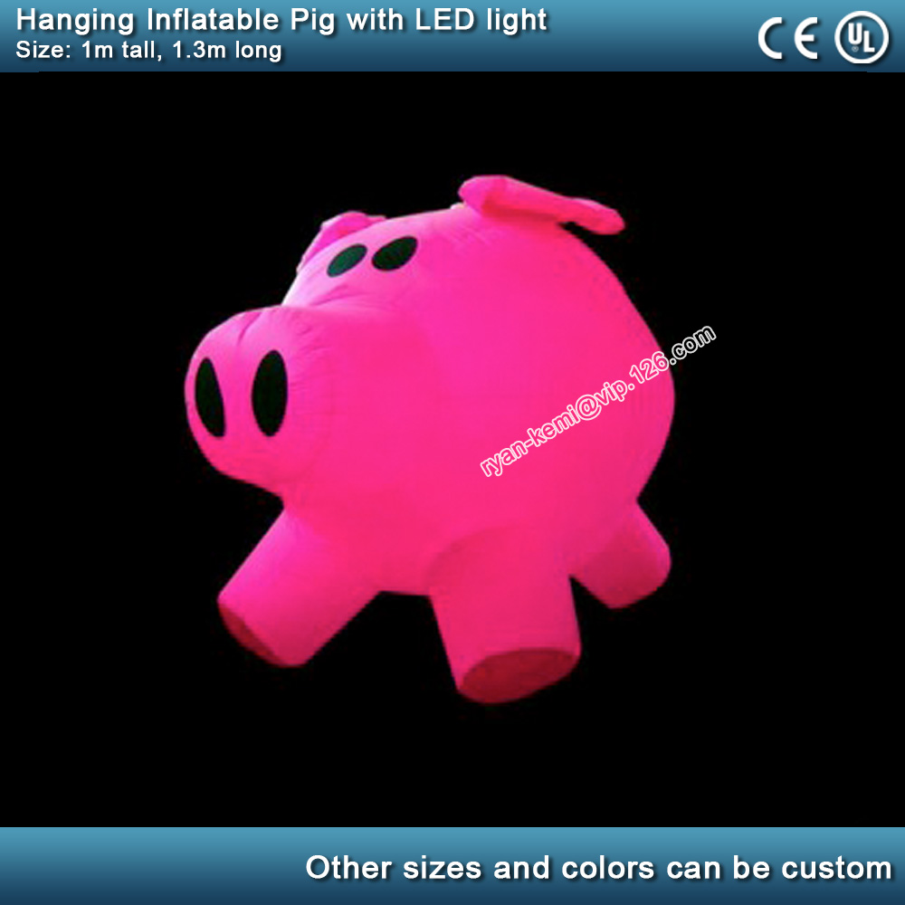 1m LED lighting inflatable pink pig for decoration pink inflatable pig with color changing LED lighthing hanging from ceiling1m LED lighting inflatable pink pig for decoration pink inflatable pig with color changing LED lighthing hanging from ceiling