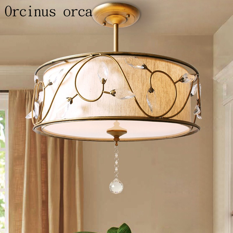 цена American country retro crystal chandelier living room bedroom restaurant study modern minimalist fashion ceiling lamp онлайн в 2017 году