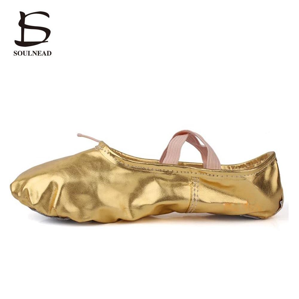 Ny oppføring Gull sekker Ballett dansesko Stor størrelse jente praksis dansesko Barn Festival Forestillinger Sko