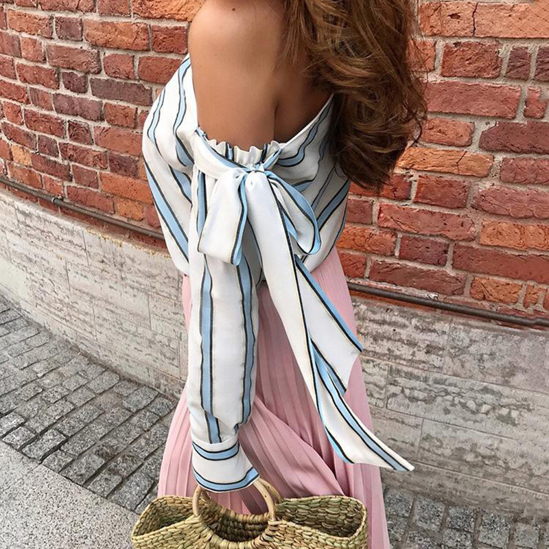Striped Blouse One Shoulder Tops Sexy Long Sleeve Bow Shirts 12