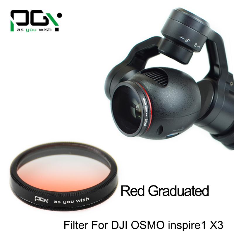 PGY Red Gradual color graduated filter Lens for DJI OSMO inspire1 X3 Gimbal Camera UAV drone accessories