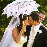 レトロレース傘パラソル用太陽傘用結婚式装飾写真撮影白ベージュレースサンシェー