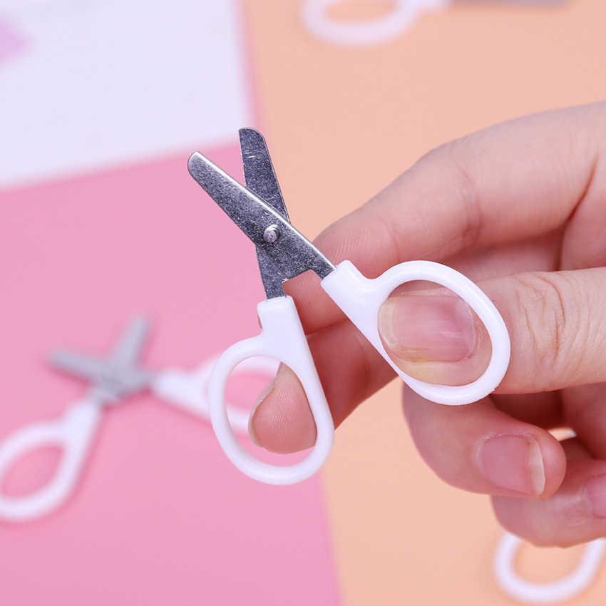 Mini รอบหัวกรรไกรพลาสติกนักเรียนเด็กสำนักงานกระดาษตัดอุปกรณ์สำหรับโรงเรียนอนุบาล