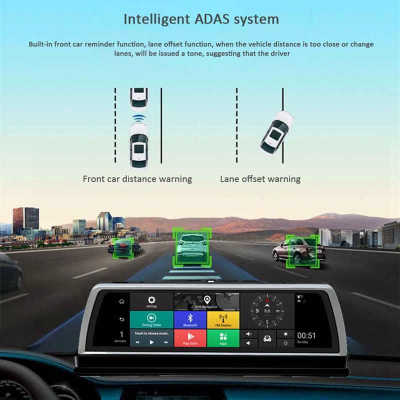 """HGDO 10 """"4G جهاز تسجيل فيديو رقمي للسيارات 2 + 32GB 4CH كاميرات أندرويد 5.1 ثماني النواة مسجل فيديو ADAS لتحديد المواقع السيارات المسجل كاميرا سباق بالرؤية الليلية"""
