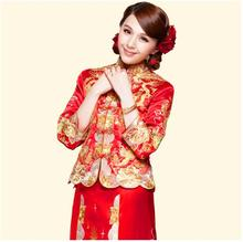 Dragon gown bride wedding dress chinese style costume Phoenix cheongsam evening dress show clothing slim Style for the Wedding