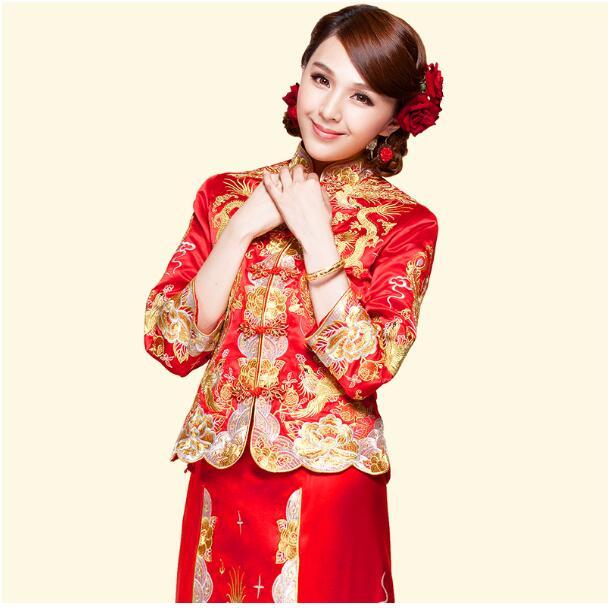 Vestido de dragón vestido de novia traje estilo chino Phoenix ...