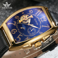 SEWOR Toubillon Mechanical Watch Men Gold Genuine Leather Strap Luxury Automatic Watches Men Clock Male Monphase Wristwatches