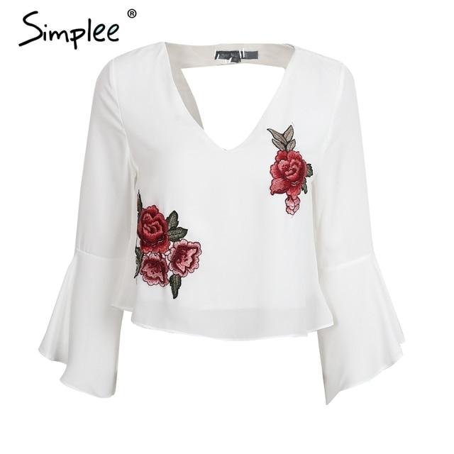 Simplee Backless chiffon blusa decote em V bordado camisa blusa Plissado branco curto blusa chemise femme verão Casual tops blusas