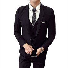 Suits 2019 new men's business casual high-end custom blazers 3 piece set (coat + vest + pants) wedding banquet work suit S-4XL