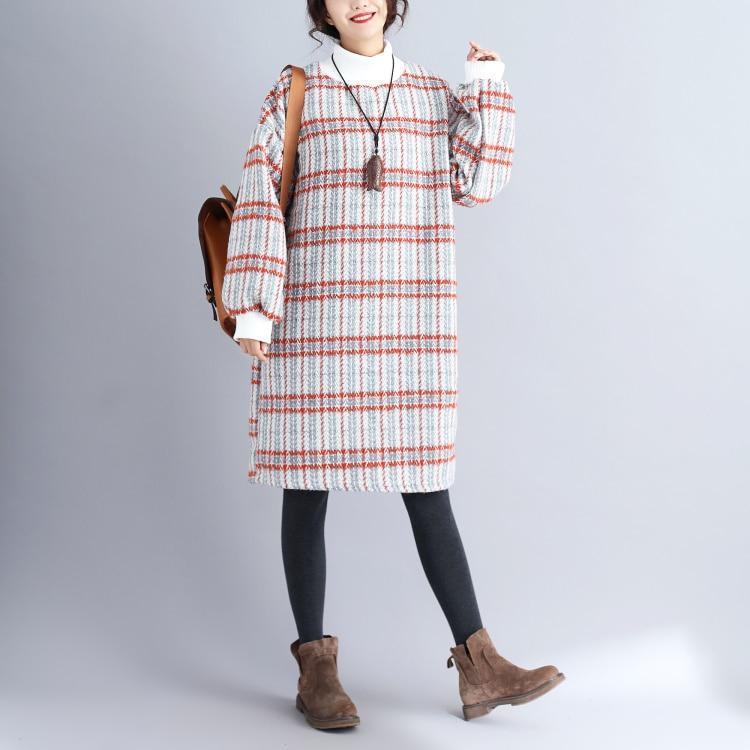 Woolen plaid turtleneck dress autumn winter new 2018 mori girl