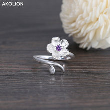 AKOLION 925 Sterling Silver Flower Cherry Blossom Finger Ring Purple Cubic Zircon Crystal Ring For Women Engagement Jewelry