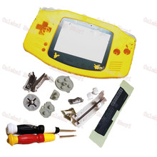 Yellow Color Case Carton Plastic Lens Full Set Shell Game Advance Replace Housing For GameboyAdvance housing Console Shell(China)