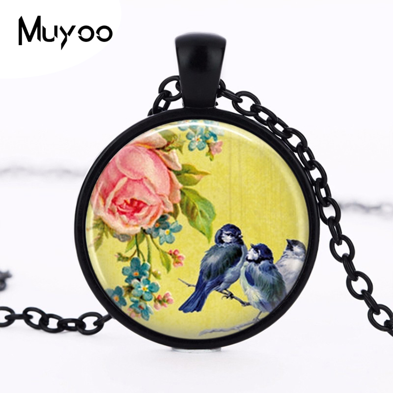 Blue Birds on A Branch Pendants Jewelry Bird Necklace Yellow Glass Dome Pendant Necklace 2016 Christmas Gift for Women HZ1