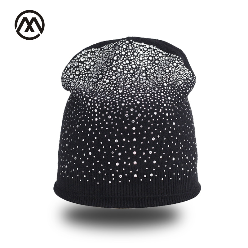 Winter Women's Shiny Diamond Hat Knitted Wool Beanie Female Skullies Casual Mask Ski Caps Thick Warm Hats for Rhinestones Hat fibonacci winter hat knitted wool beanies skullies casual outdoor ski caps high quality thick solid warm hats for women