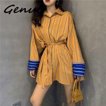 Genuo Fashion Striped Shirt Womens Korean Style Cotton Casual Ladies Blouses Loose Long Sleeve Europe Wild Autumn New 2019