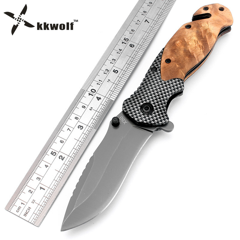 Kkwolf x50 cuchillo plegable táctico recubrimiento de titanio hoja de acero mango de madera supervivencia Cuchillos huntting Pesca EDC herramienta garra