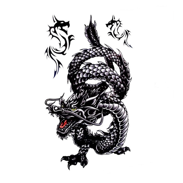 1Pcs Waterproof Sweat Temporary Tattoo Stickers Creative Design Black Dragon Fake Tattoo 3D Men Women Tatoo For Body Art