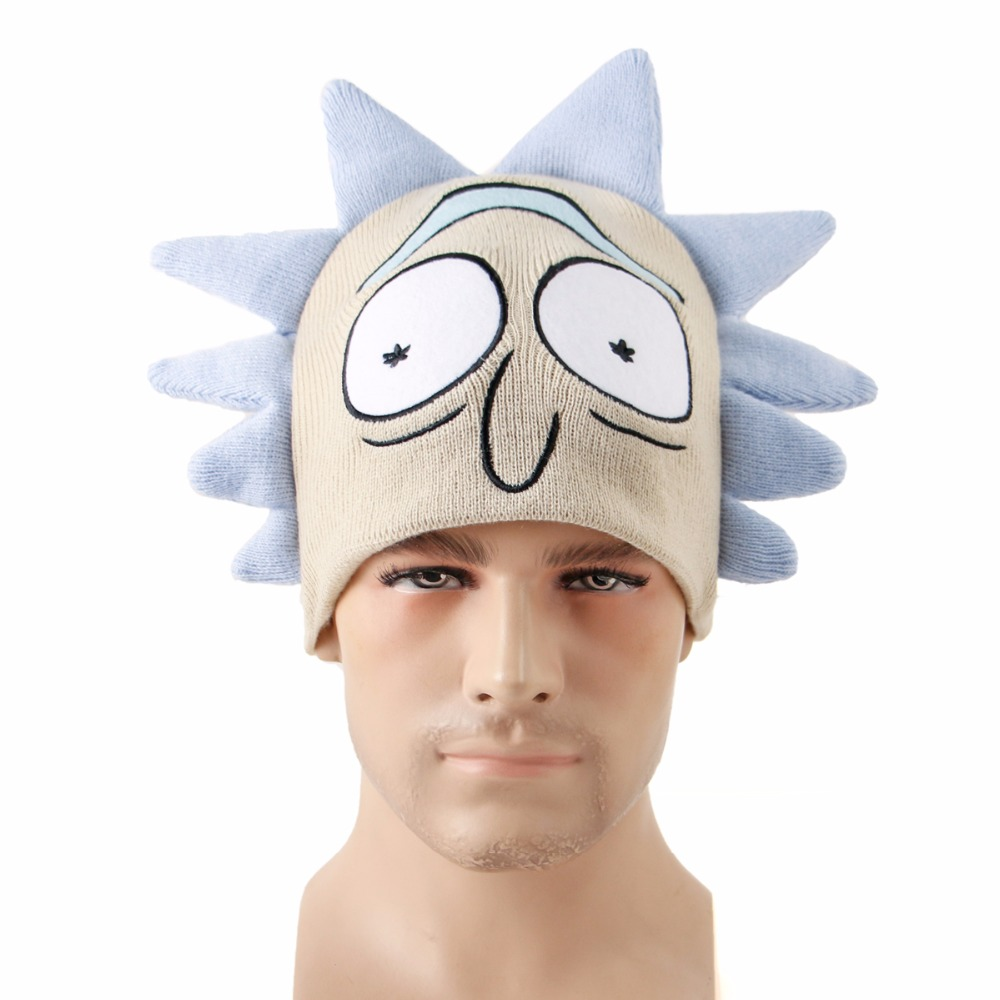 Anime Rick and Morty Hats Rick knitted Embroidered Beanie Cap Elastic High Quality Cosplay Caps Gift for Fans