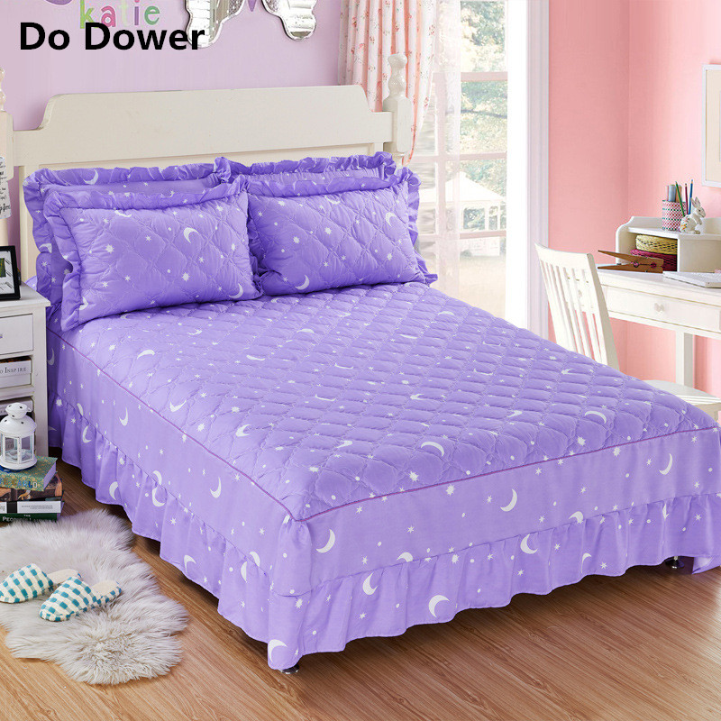 1pc 100%Polyester Thickened cotton skirt Mattress Cover Printing Bedding Linens Bed Shee ...