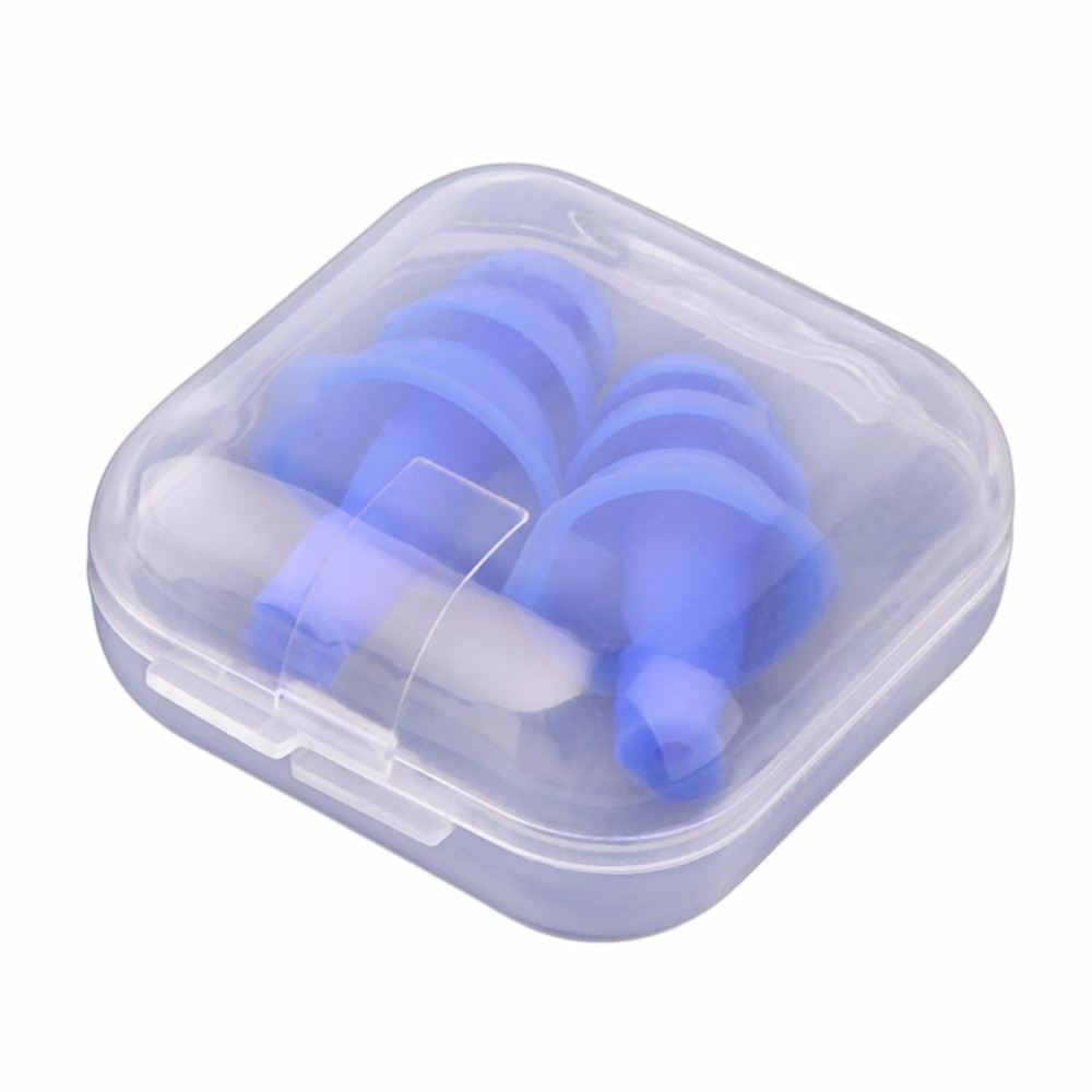 1 Pair Blue Spiral Solid Convenient Silicone Ear Plugs Anti Noise Snoring Earplugs Comfortable For Study Sleeping