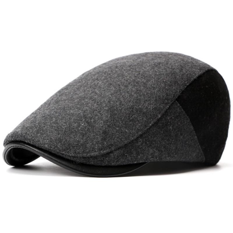 HT749 New Fashion Winter Mens Beret Cap Wool felt Ivy Caps Patchwork Capby Capby untuk Lelaki Gaya Korea Advanced Caps Cabbie Hat