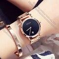 Relógio feminino Relógio de Quartzo-relógio de Senhoras Relógio de Forma Ultra-Fino Ouro Rosa de Aço Inoxidável Correia Relógios Mulheres Presente Acessórios