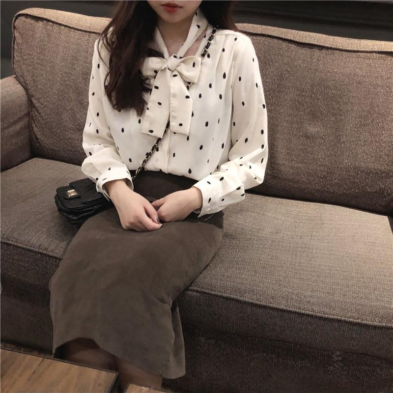 2019 Spring Summer Korean Women Shirts Elegant Sweet Bow Tie Chiffon Shirts Long Sleeve Retro Polka Dot Blouse Chic Ladies Tops