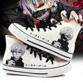 Hombres Mujeres Anime de Tokio Ghoul Mano Pintado Zapatos de Lona High-Top Muchachas de Los Zapatos de La Pintada de la Historieta de Cosplay Zapato Plano