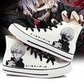 Pintados À Mão Sapatos de Lona Das Mulheres dos homens de Anime de Tóquio Ghoul Alta-Top Meninos Meninas Sapatos de Graffiti Dos Desenhos Animados Cosplay Sapato Plana