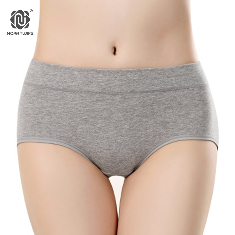Buy NORA TWIPS 4pcs/pack(4 colors) Women Cotton Solid Briefs Plus Size XL Mid-Rise Waist Underwear Panties Women 2017 Lingeries
