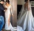 Robe de Mariée Sirene Vintage Русалка Свадебные Платья 2017 Длинные Рукава Высокого Сплит Свадебные Платья Со Съемной Поезд Casamento