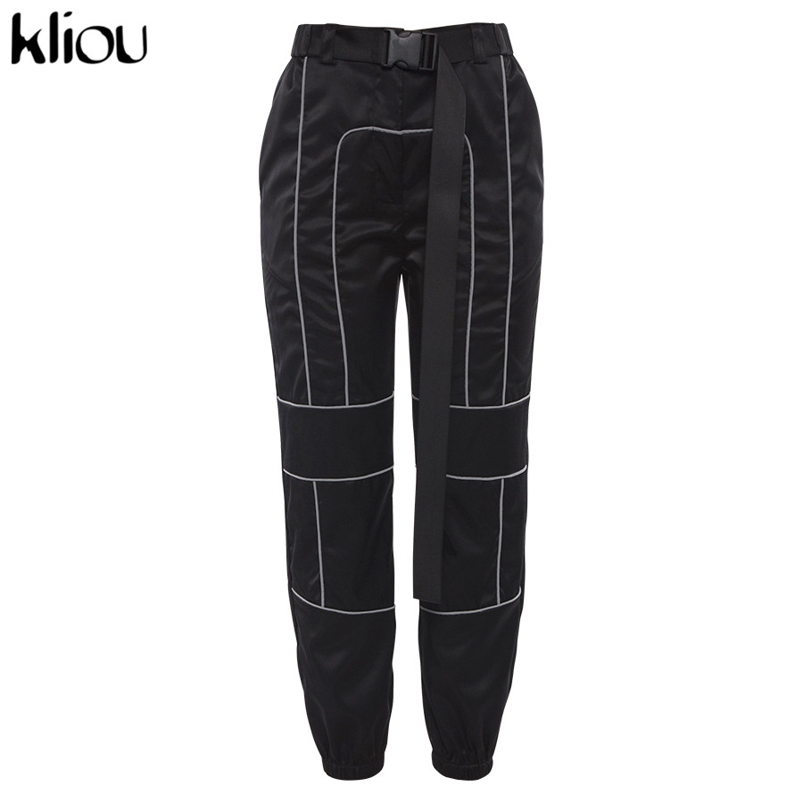 HTB1t.kRacfrK1RkSmLyq6xGApXay - Kliou women fashion street Reflective patchwork cargo pants 2019 new arrival zipper fly with sashes pockets knitted trousers