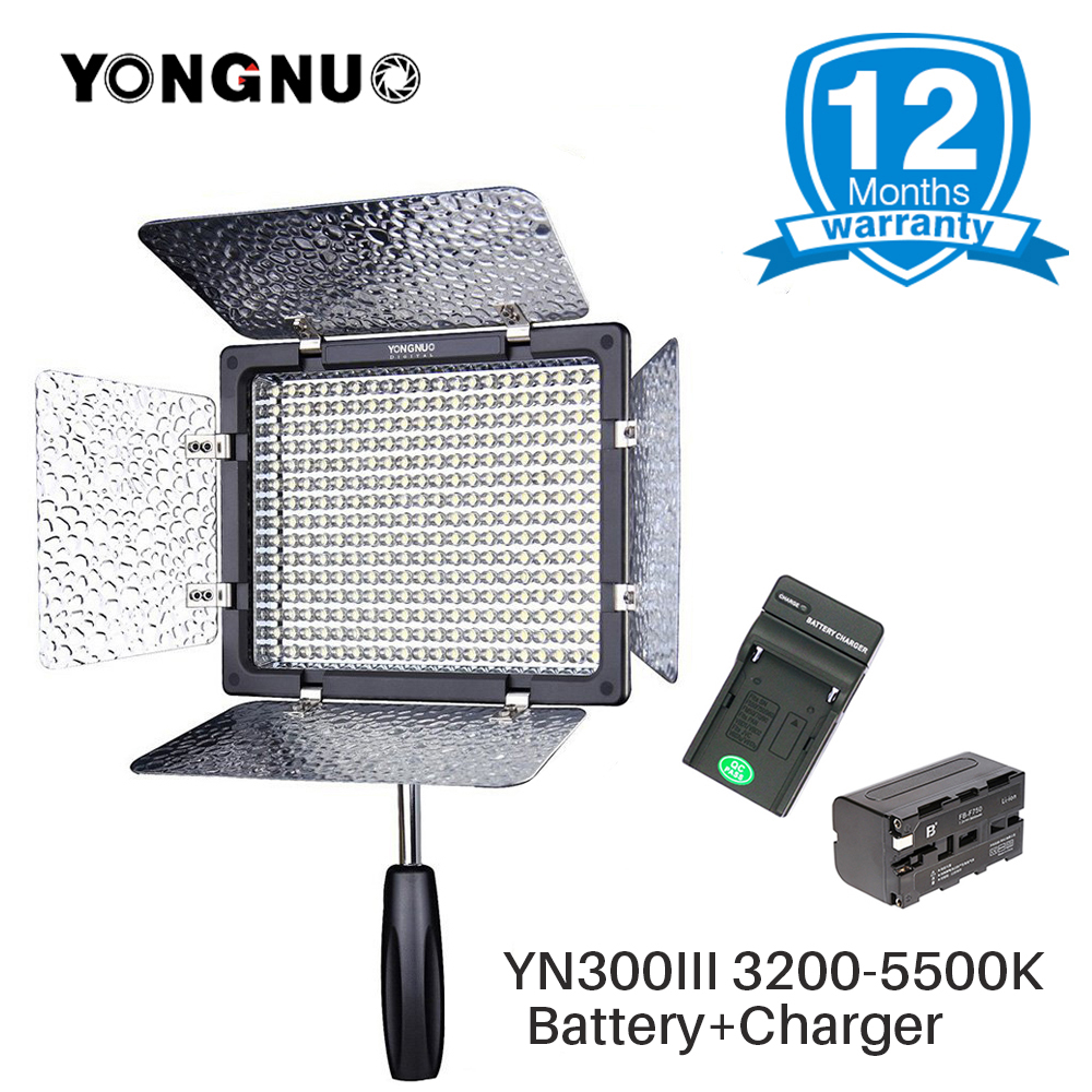 цена YONGNUO YN-300 III YN300III 3200-5500K LED Camera Video Light with NP-F750 Battery Photography Studio Lighting for DSLR Camera