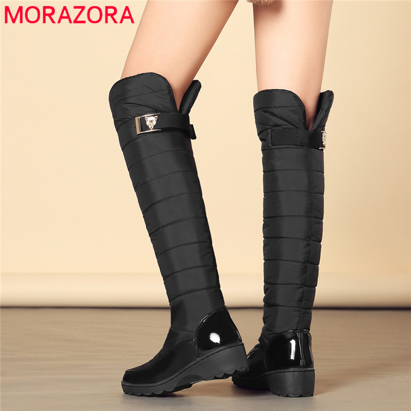 MORAZORA Russia Snow boots buckle knee high boots thick fur plush platform down wedges women winter boots Size 35-44 botasMORAZORA Russia Snow boots buckle knee high boots thick fur plush platform down wedges women winter boots Size 35-44 botas