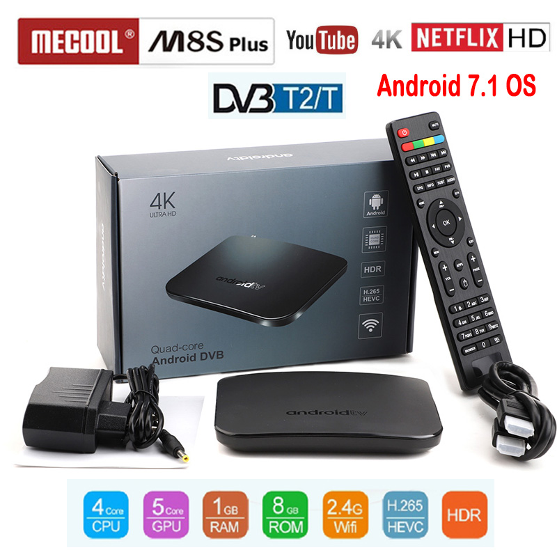 MECOOL DVB-T2 Android 7.1 WiFi TV Box Amlogic S905D 1G ROM 8G RAM 2.4G 100 M Support 4 K H.265 DVB T2 M8S Plus DVB lecteur multimédia