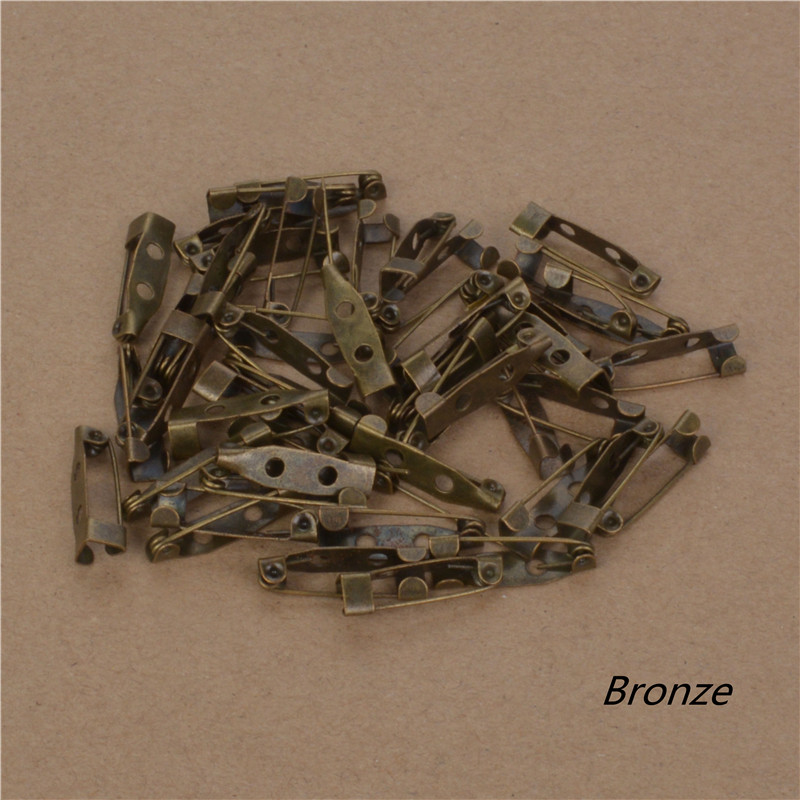 40pcs 15-30mm Safety Lock Back Bar Pin DIY brooch base, Dual Brooch Back Base With Safety Pin use for brooch and hair jewelry