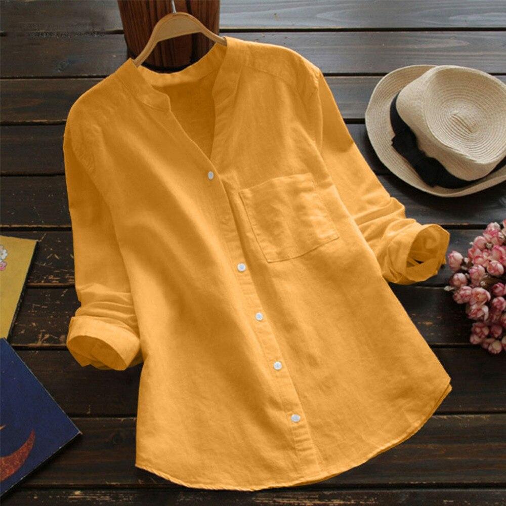 Solid V Neck Cotton linen   Blouse   Women Casual V Neck Solid Long Sleeve Loose Cotton linen   Shirt   Plus Size   Blouse   Button Tops #20