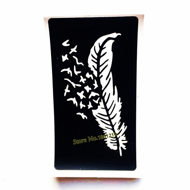 1 Unid Cuerpo Arte Aribrush Pintura Henna Tatuaje Stencil Plumas