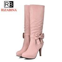 RIZABINA Size 32 43 4 Colors Women Knee Boots Zipper Platform Bowtie Women Botas Fashion Shoes Sweet Female Footwear
