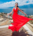 New Women Casual Dress 2016 summer beach dress Bohemian backless Floor Length Long Maxi Bandage Dresses Red & White  vestidos