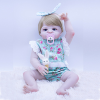 55cm Reborn Baby kurhn Doll all Silicone hard Vinyl Bebe Reborn Baby Toy and blue flower dress pullip For Children's Day Gifts