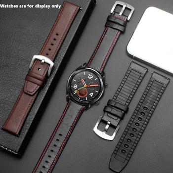 PEIYI Watchband 22mm Silicone + Leather 2in 1 Strap Fashion Men's Replacement Wristband For Huawei watch Pro/GT Quick release