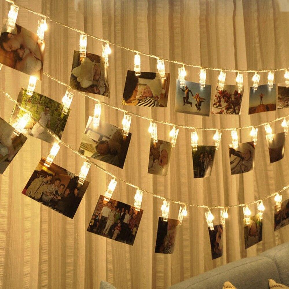 úLtima ColeccióN De Muqgew Navidad 20 Usb Carga Led Ventana Cortina Luces Cadena Foto Clip Lámpara Casa Fiesta Navidad Luces Led Decoración # Los Clientes Primero