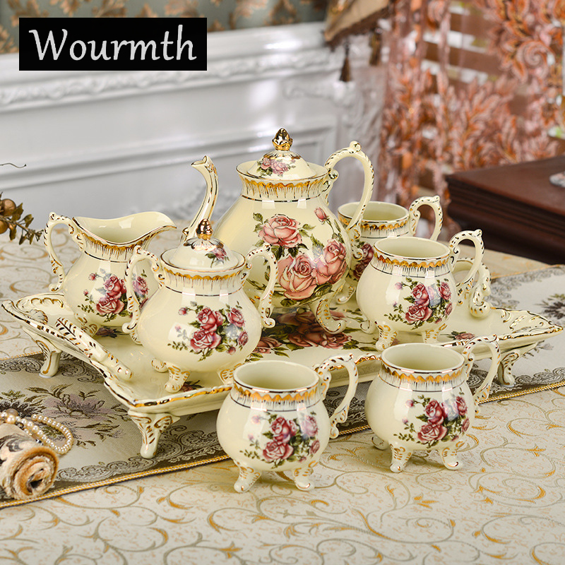 Wourmth Fashion tea set bone china 8 pcs coffee set household coffee cup set high quality