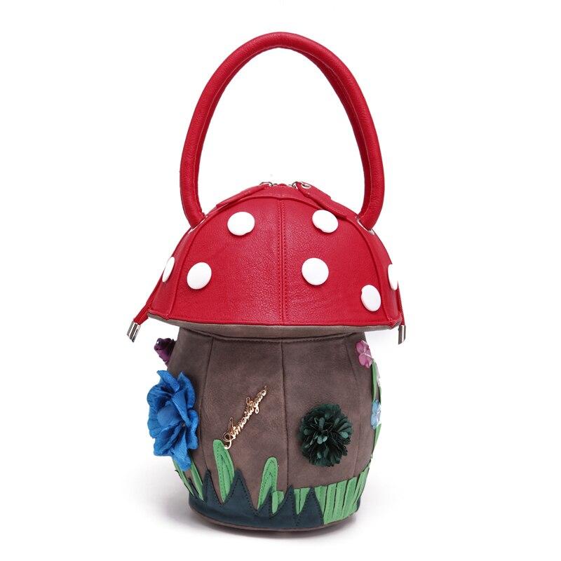 Mignon champignon sacs à main PU fourre-tout sacs Itaily Design créatif personnalité sacs contraste Fun enfants fille femmes vacances cadeaux 2018
